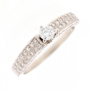 Solitaire diamants 0.34 carat en or blanc