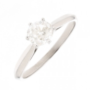 Solitaire diamant 0.45 carat en or blanc