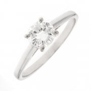 Solitaire diamant 0.67 carat en or blanc