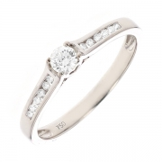 Solitaire diamants 0.38 carat en or blanc