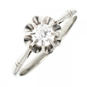 Solitaire diamant 0.22 carat en or blanc