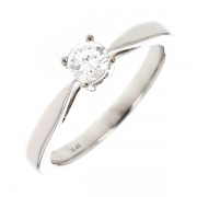 Solitaire diamant 0.39 carat en or blanc