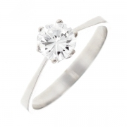 Solitaire diamant 0.68 carat en or blanc