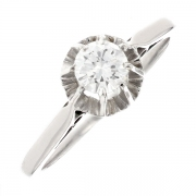 Solitaire diamant 0.38 carat en or blanc