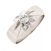 Solitaire diamant 0.44 carat en or blanc