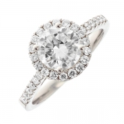 Solitaire diamants 1.59 carat en or blanc