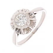 Bague solitaire vintage diamant 0,53 carat en or blanc