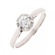 Bague solitaire vintage diamant 0.22 carat en or blanc