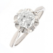 Bague solitaire diamant 0.75 carat en or blanc