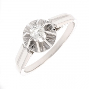 Solitaire diamant 0.17 carat en or blanc