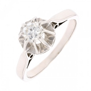 Bague solitaire vintage diamant 0.35 carat en or blanc