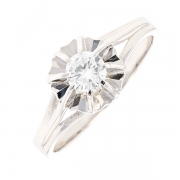 Bague vintage solitaire diamant 0.26 carat en or blanc