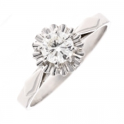 Bague solitaire vintage diamant 0.47 carat en or blanc
