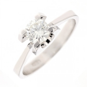 Bague solitaire vintage diamant 0.63 carat en or blanc