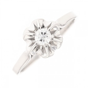 Bague solitaire vintage diamant 0.17 carat en or blanc