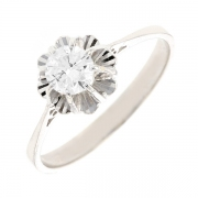 Bague solitaire vintage diamant 0.50 carat en or blanc
