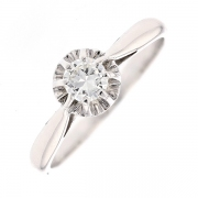 Bague solitaire vintage damant 0.29 carat en or blanc