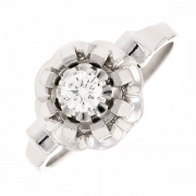 Bague solitaire vintage diamant 0.25 carat en or blanc
