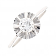 Bague solitaire vintage diamant 0.43 carat en or blanc