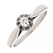 Solitaire diamant 0.09 carat en or blanc
