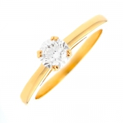 Solitaire diamant 0.58 carat en or jaune