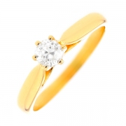 Solitaire diamant 0.34 carat en or jaune