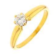 Bague solitaire diamant 0,35 carat en or jaune