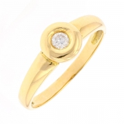 Bague solitaire diamant 0.14 carat en or jaune