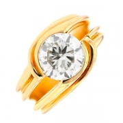 Bague solitaire tourbillon diamant 2,25 carats en or jaune