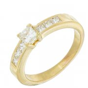 Solitaire diamants taille princesse 0,48 carat en or jaune