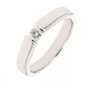 Bague solitaire diamant 0,15 carat en or blanc