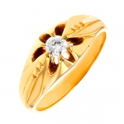 Solitaire diamant 0.35 carat en or jaune