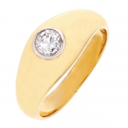 Bague solitaire diamant 0,25 carat en or jaune