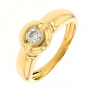 Bague solitaire diamant 0,17 carat en or jaune