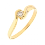 Bague solitaire diamant 0.11 carat en or jaun