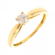 Bague solitaire diamant 0.25 carat en or jaune