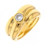 Bague solitaire diamant 0.40 carat en or jaune