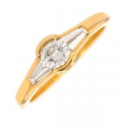 Bague solitaire diamants 0.75 carat en or jaune