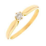 Bague solitaire diamant 0.12 carat en or jaune