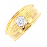 Solitaire diamant 0.36 carat en or jaune