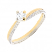 Bague solitaire diamant 0.20 carat en or bicolore