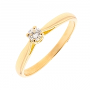 Bague solitaire diamant 0.15 carat en or jaune