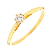 Bague solitaire diamant 0.17 carat en or jaune