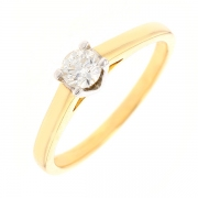 Bague solitaire diamant 0.30 carat en or bicolore