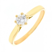 Bague solitaire diamant 0.37 carat en or jaune