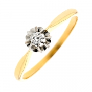 Solitaire diamant en or bicolore