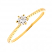 Bague solitaire diamant 0.18 carat en or jaune