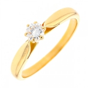 Bague solitaire diamant 0.22 carat en or jaune