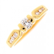 Solitaire diamants 0.28 carat en or jaune
