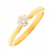 Bague solitaire diamant 0.23 carat en or jaune